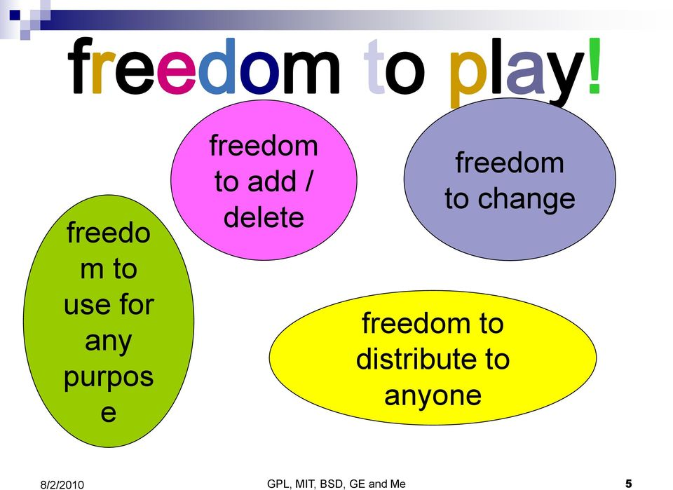 freedom to add / delete freedom to