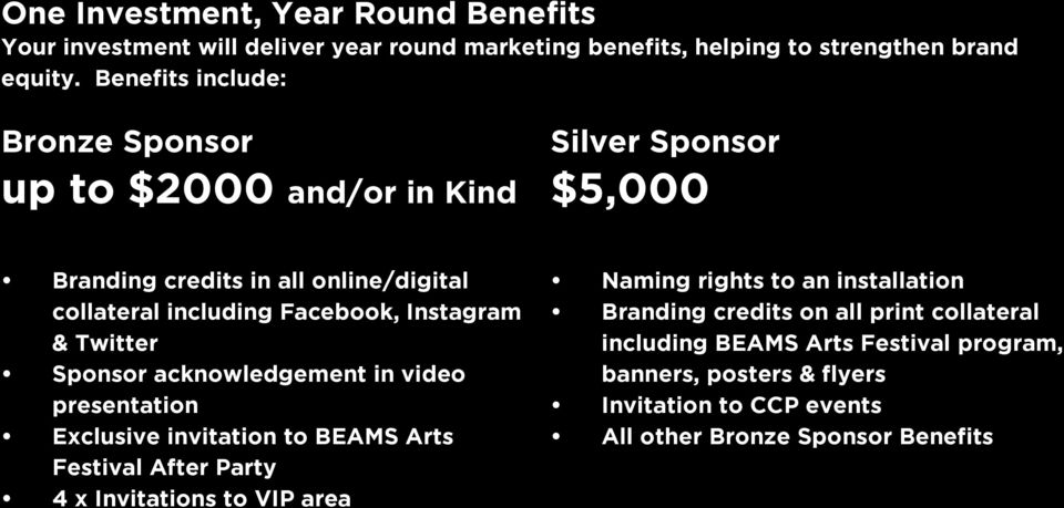 Instagram & Twitter Sponsor acknowledgement in video presentation Exclusive invitation to BEAMS Arts Festival After Party 4 x Invitations to VIP area Naming