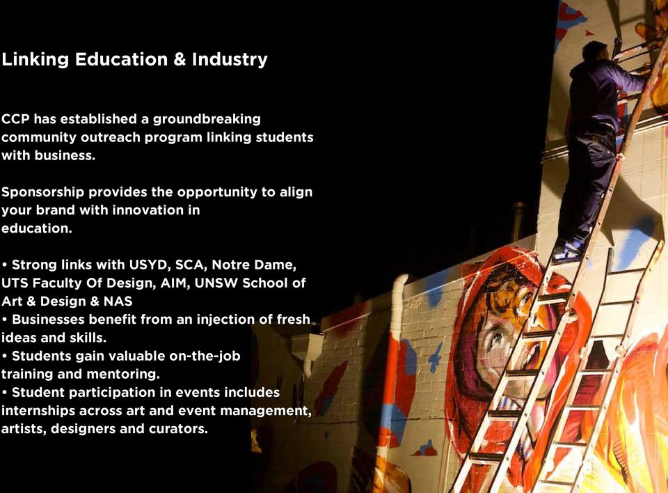 Strong links with USYD, SCA, Notre Dame, UTS Faculty Of Design, AIM, UNSW School of Art & Design & NAS Businesses benefit from an