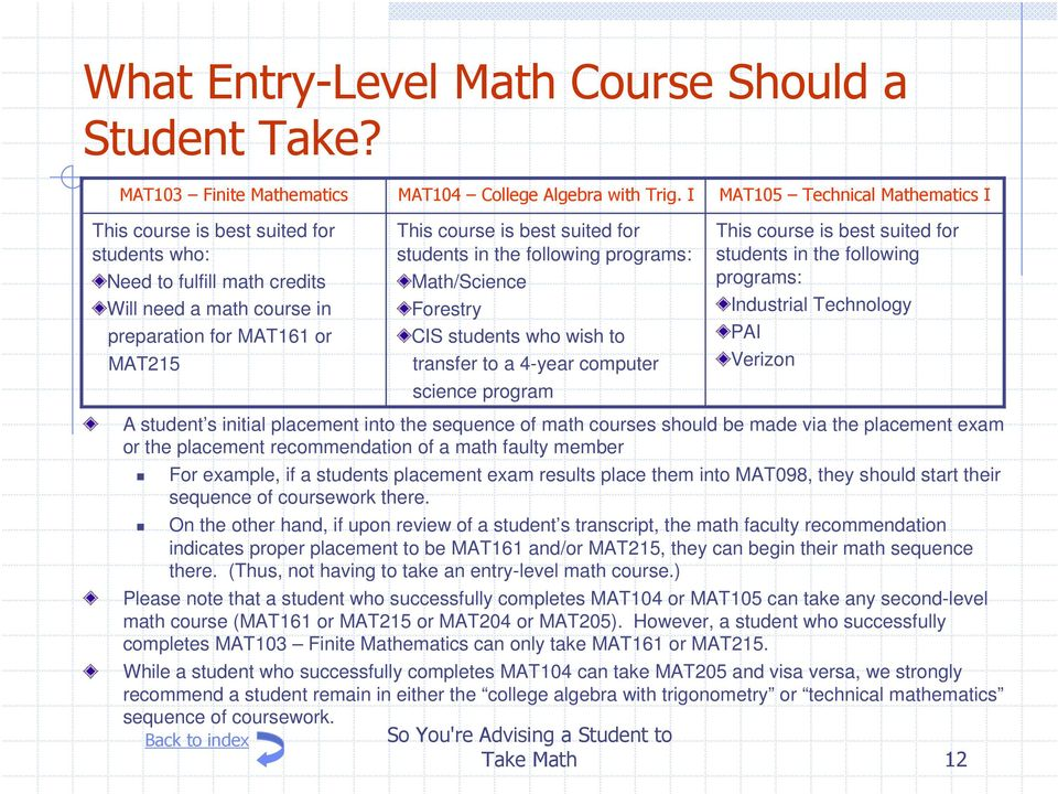 into the sequence of math courses should be made via the placement exam or the placement recommendation of a math faulty member This course is best suited for students in the following programs: