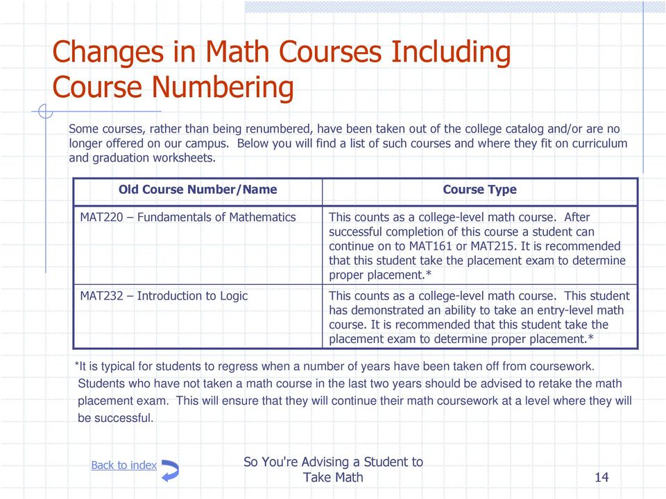 Old Course Number/Name MAT220 Fundamentals of Mathematics MAT232 Introduction to Logic Course Type This counts as a college-level math course.