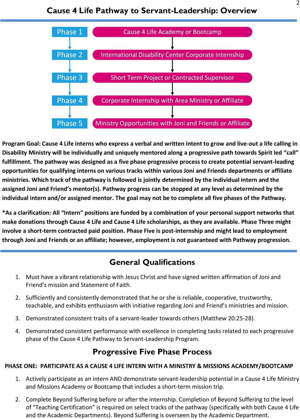 The pathway was designed as a five phase progressive process to create potential servant-leading opportunities for qualifying interns on various tracks within various Joni and Friends departments or