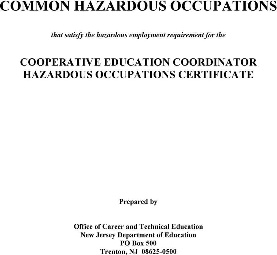 CERTIFICATE Prepared by Office of Career and Technical