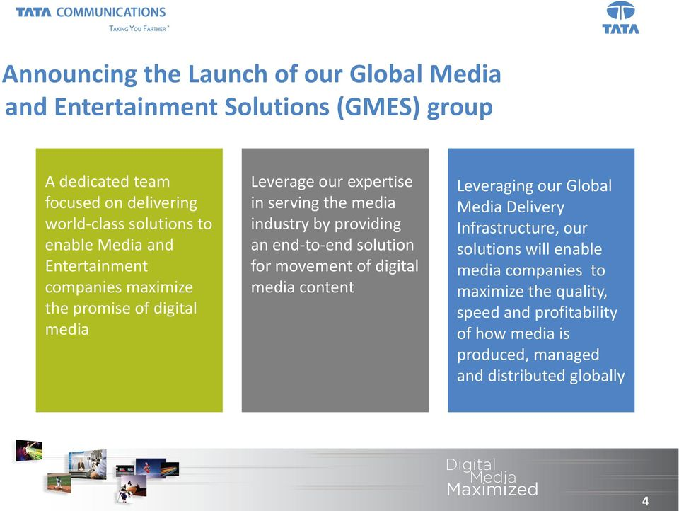industry by providing an end-to-end solution for movement of digital media content Leveraging our Global Media Delivery Infrastructure, our
