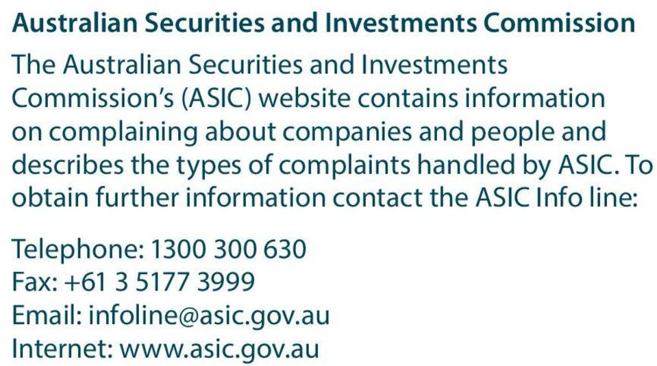 describes the types of complaints handled by ASIC.