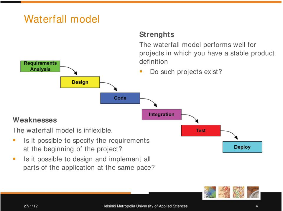 Weaknesses The waterfall model is inflexible.