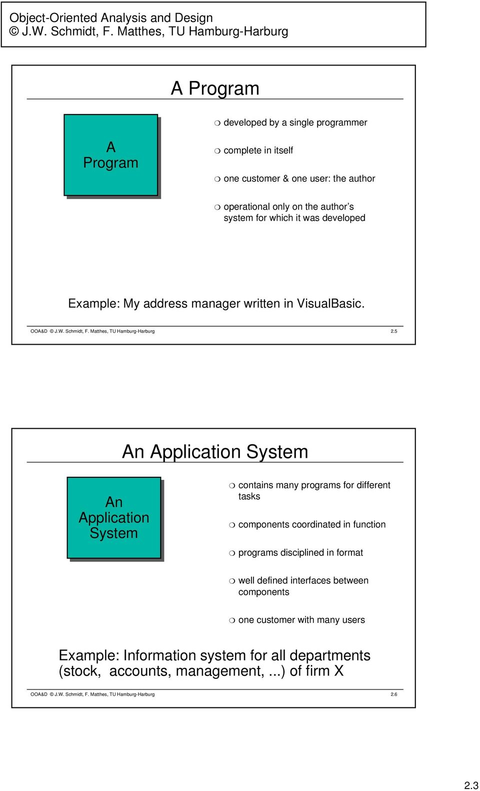 5 An Application System An Application System contains many programs for different tasks components coordinated in function programs