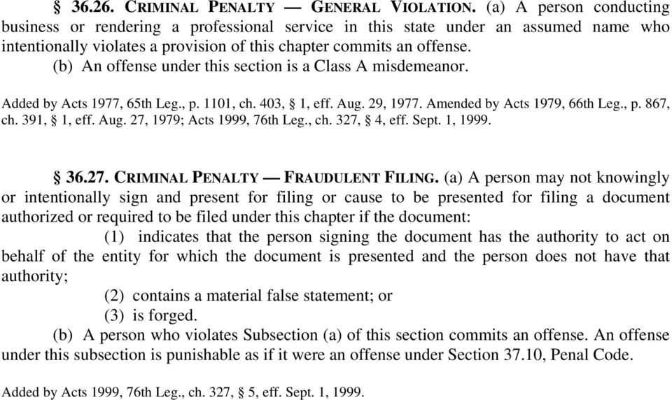 (b) An offense under this section is a Class A misdemeanor. Added by Acts 1977, 65th Leg., p. 1101, ch. 403, 1, eff. Aug. 29, 1977. Amended by Acts 1979, 66th Leg., p. 867, ch. 391, 1, eff. Aug. 27, 1979; Acts 1999, 76th Leg.