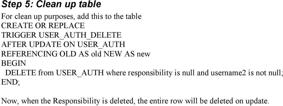 BEGIN DELETE from USER_AUTH where responsibility is null and username2 is not null;