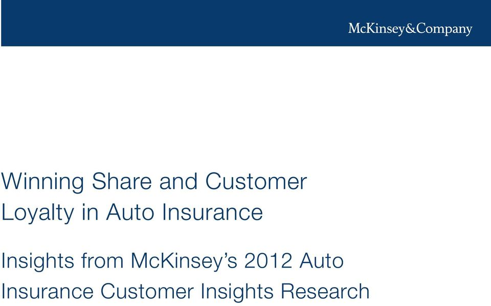 Insights from McKinsey s 2012