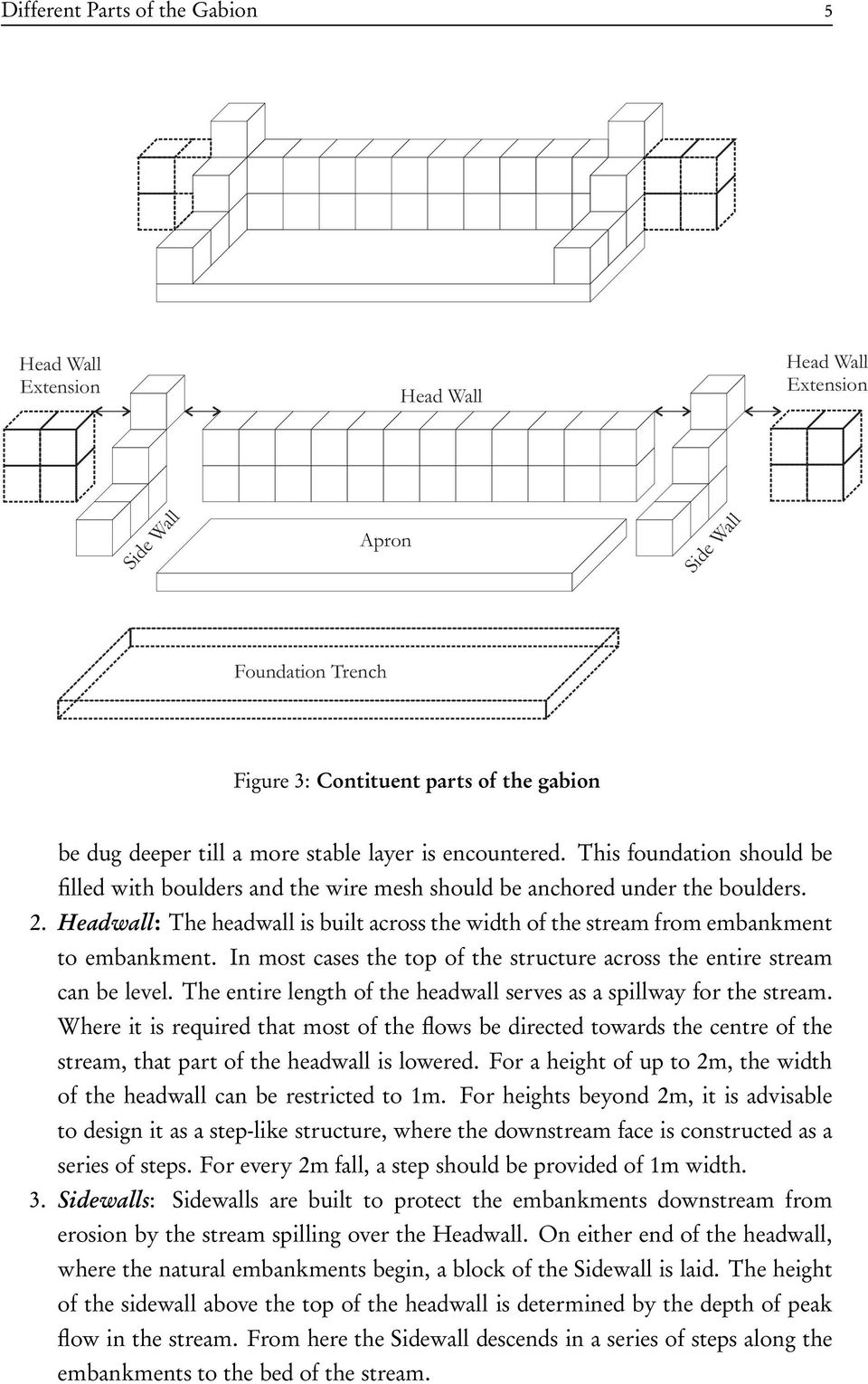 Headwall: The headwall is built across the width of the stream from embankment to embankment. In most cases the top of the structure across the entire stream can be level.