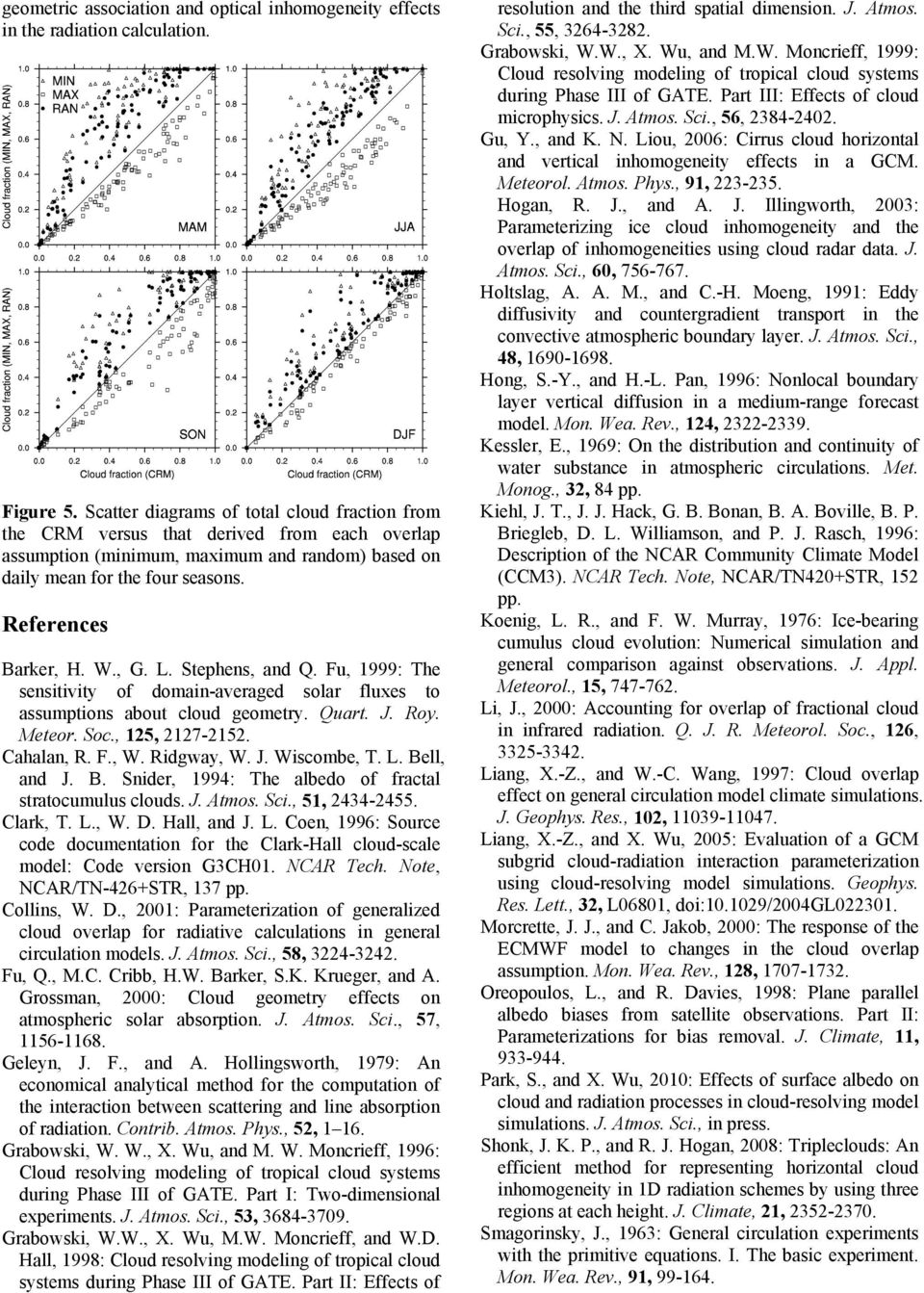 , G. L. Stephens, and Q. Fu, 1999: The sensitivity of domain-averaged solar fluxes to assumptions about cloud geometry. Quart. J. Roy. Meteor. Soc., 125, 2127-2152. Cahalan, R. F., W. Ridgway, W. J. Wiscombe, T.