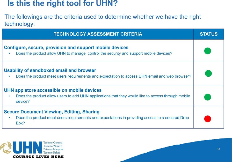 Does the product allow UHN to manage, control the security and support mobile devices?