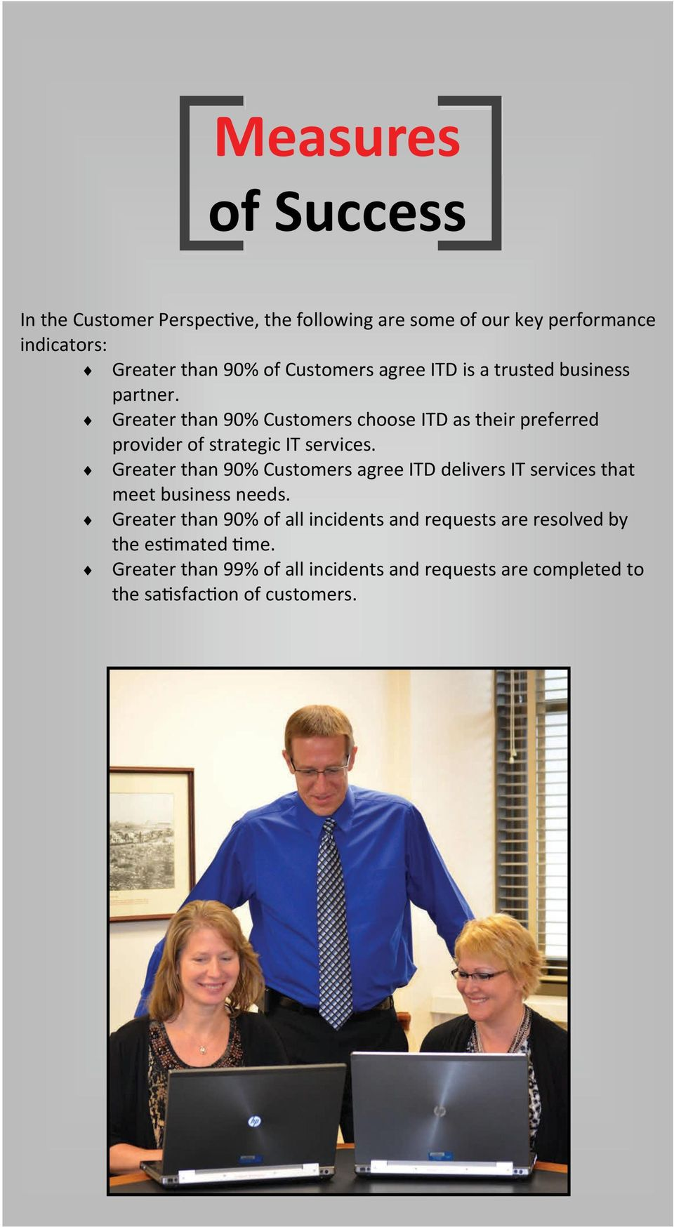 Greater than 90% Customers choose ITD as their preferred provider of strategic IT services.