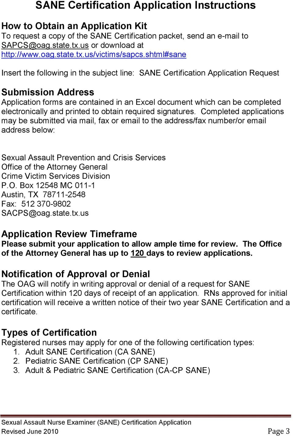 Sexual assault nurse examiners sane certification application electronically and printed to obtain required signatures 1betcityfo Images