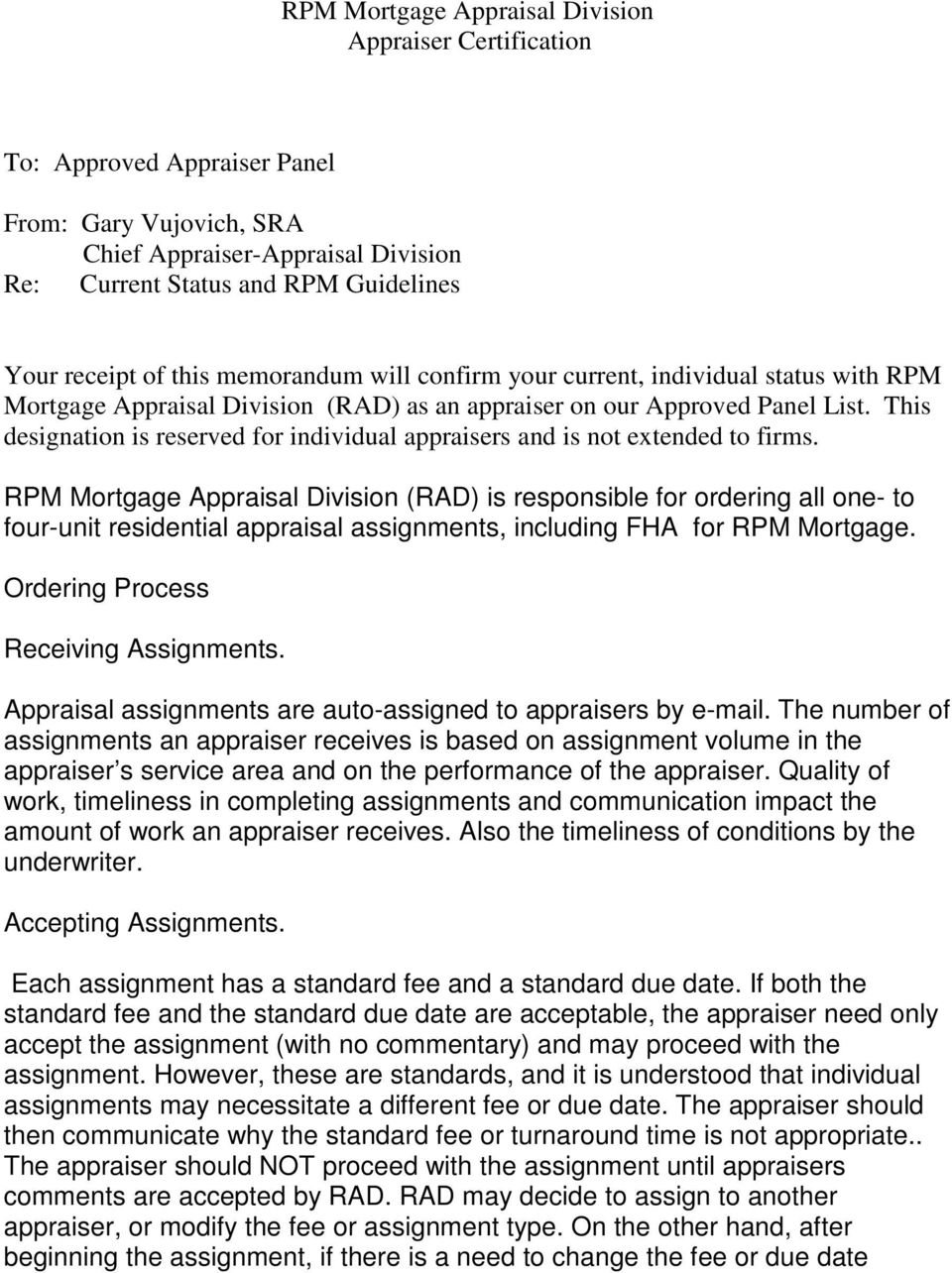 Rpm Mortgage Appraisal Division Appraiser Certification To