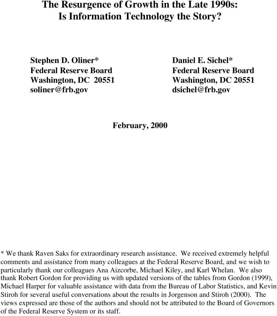 gov February, 2000 * We thank Raven Saks for extraordinary research assistance.