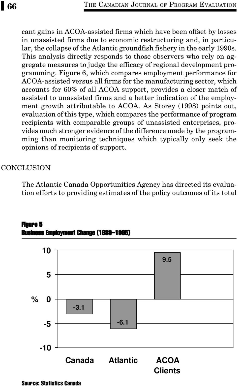 Figure 6, which compares employment performance for ACOA-assisted versus all firms for the manufacturing sector, which accounts for 60% of all ACOA support, provides a closer match of assisted to