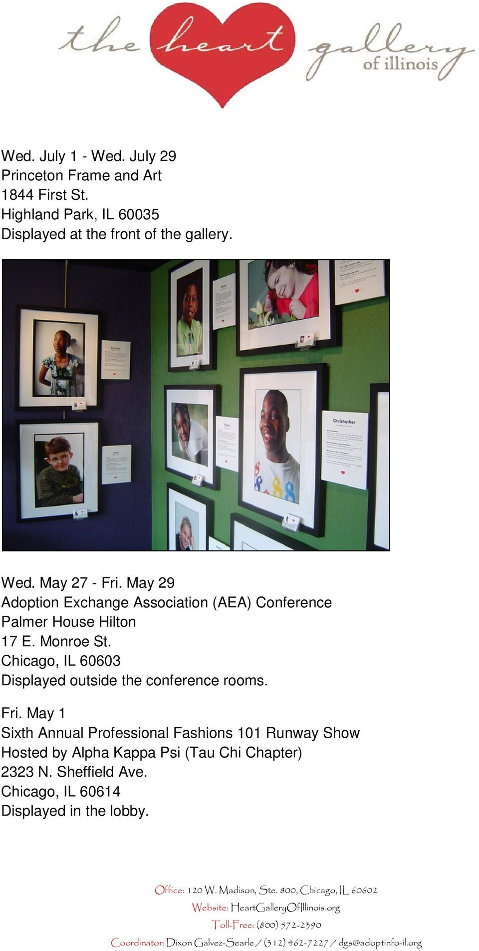 May 29 Adoption Exchange Association (AEA) Conference Palmer House Hilton 17 E. Monroe St.