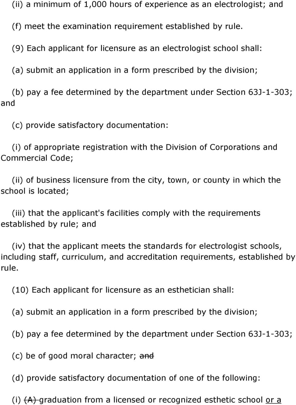 (ii) of business licensure from the city, town, or county in which the school is located; (iii) that the applicant's facilities comply with the requirements established by rule; and (iv) that the