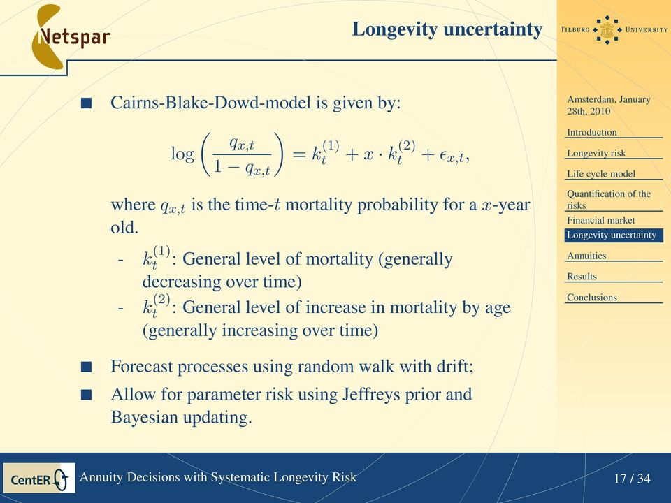 - k (1) t : General level of mortality (generally decreasing over time) - k (2) t : General level of increase in mortality by age