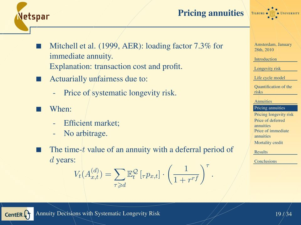 The time-t value of an annuity with a deferral period of d years: V t (A (d) x,t ) = ( ) 1 τ E Q t [ τ p x,t ] 1 + r rf.