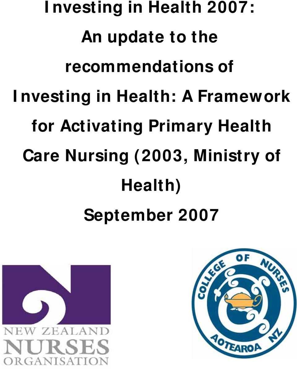 Framework for Activating Primary Health Care