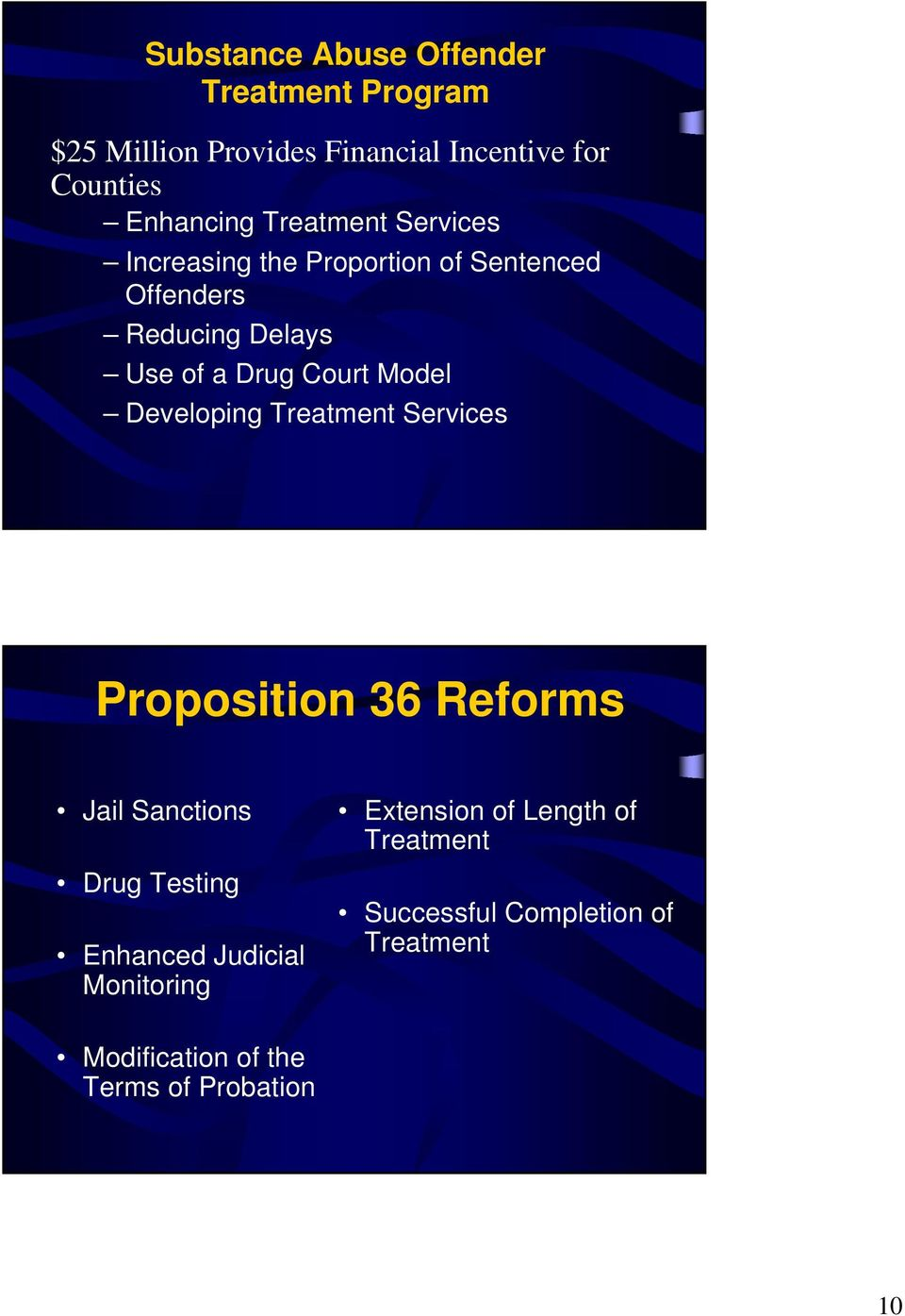 Model Developing Treatment Services Proposition 36 Reforms Jail Sanctions Drug Testing Enhanced Judicial