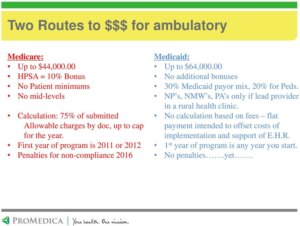 First year of program is 2011 or 2012 Penalties for non-compliance 2016 Medicaid: Up to $64,000.