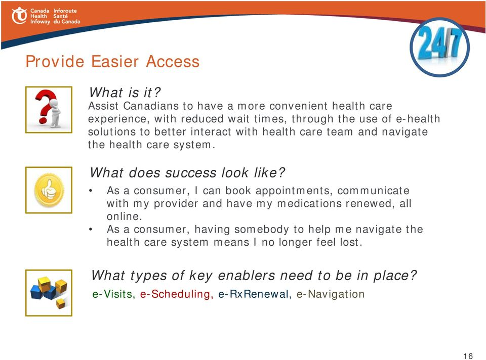 interact with health care team and navigate the health care system. What does success look like?