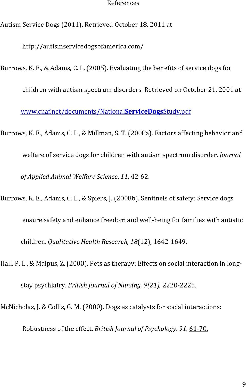 , & Millman, S. T. (2008a). Factors affecting behavior and welfare of service dogs for children with autism spectrum disorder. Journal of Applied Animal Welfare Science, 11, 42-62. Burrows, K. E.