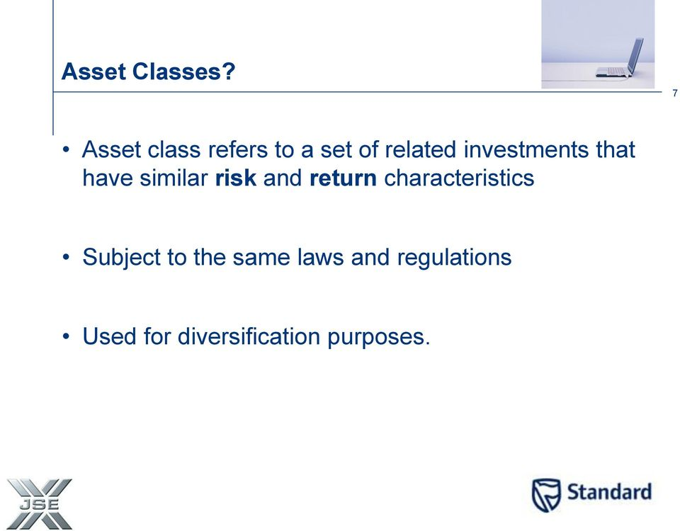 investments that have similar risk and return