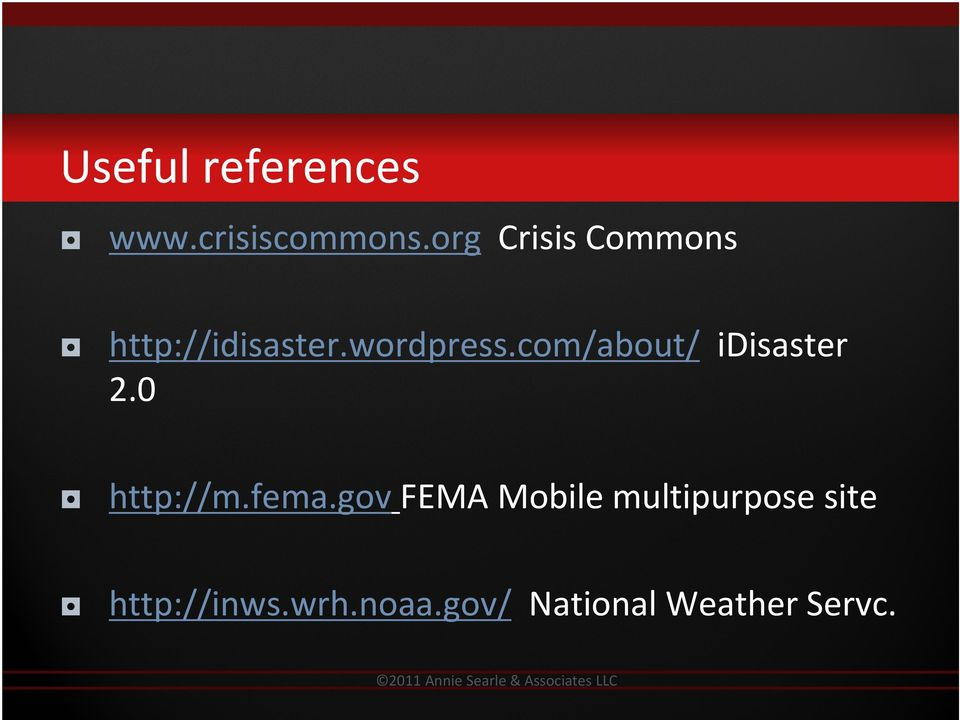 com/about/ idisaster 2.0 http://m.fema.