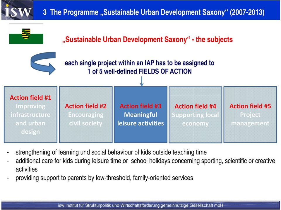 activities Action field #4 Supporting local economy Action field #5 Project management - strengthening of learning und social behaviour of kids outside teaching time -