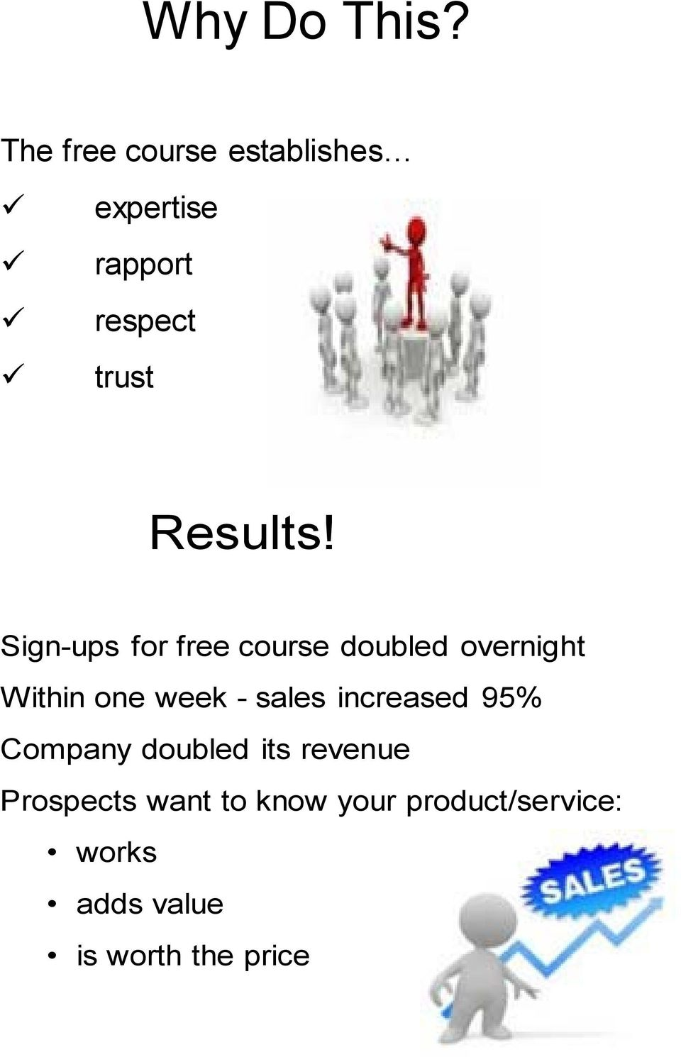 Sign-ups for free course doubled overnight Within one week - sales