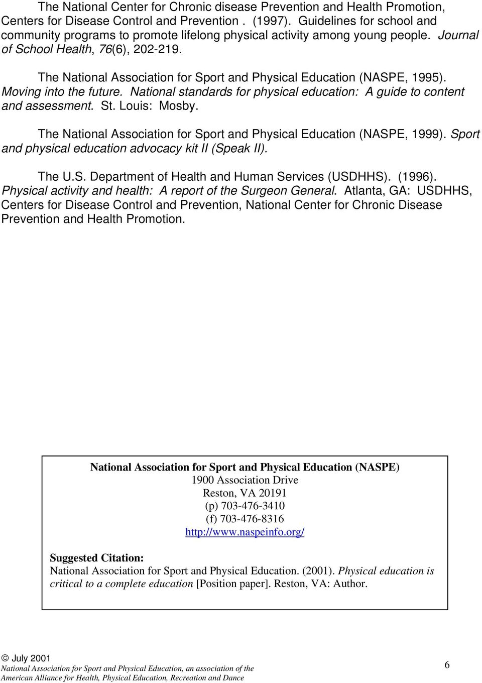 The National Association for Sport and Physical Education (NASPE, 1995). Moving into the future. National standards for physical education: A guide to content and assessment. St. Louis: Mosby.
