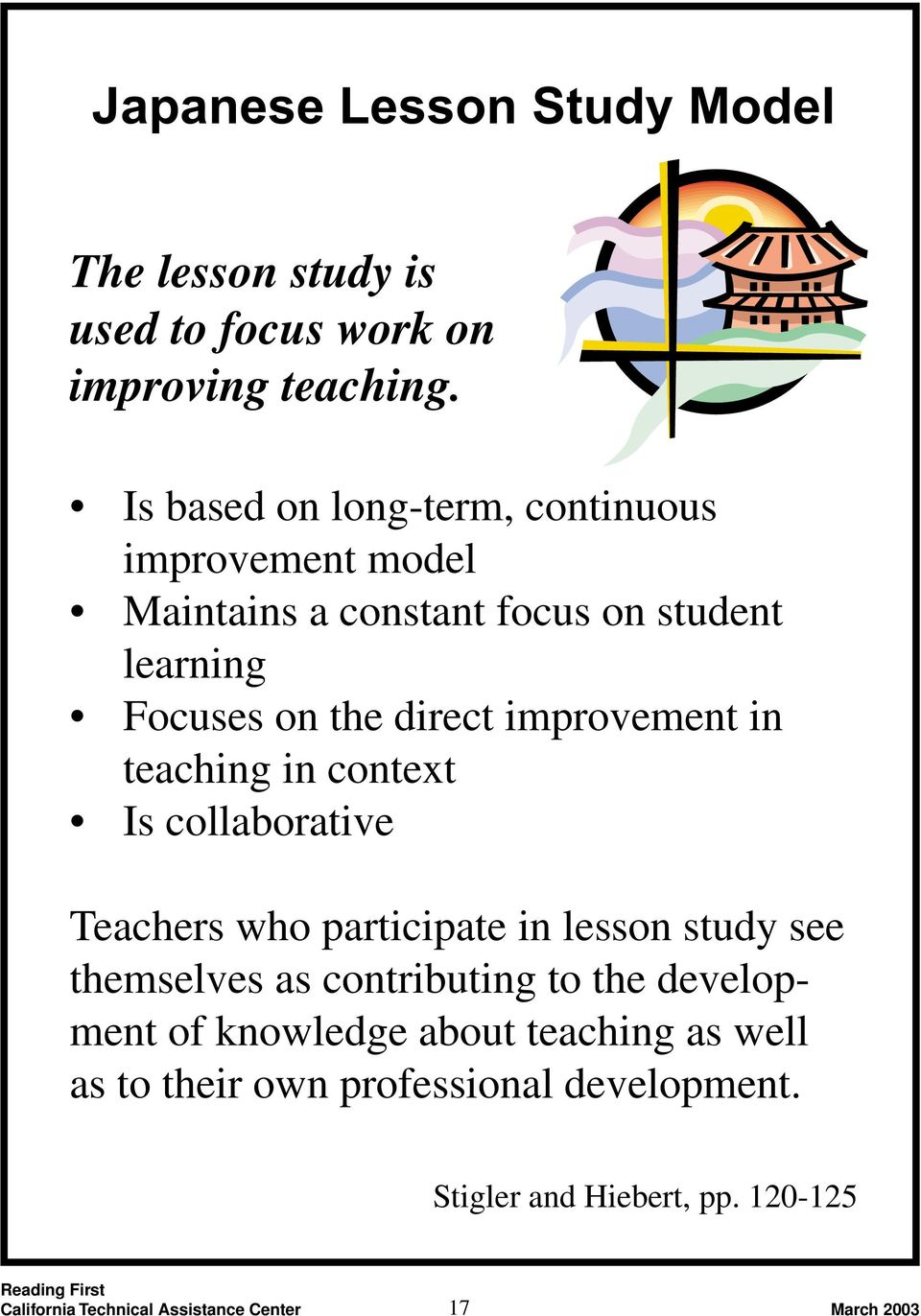 direct improvement in teaching in context Is collaborative Teachers who participate in lesson study see themselves