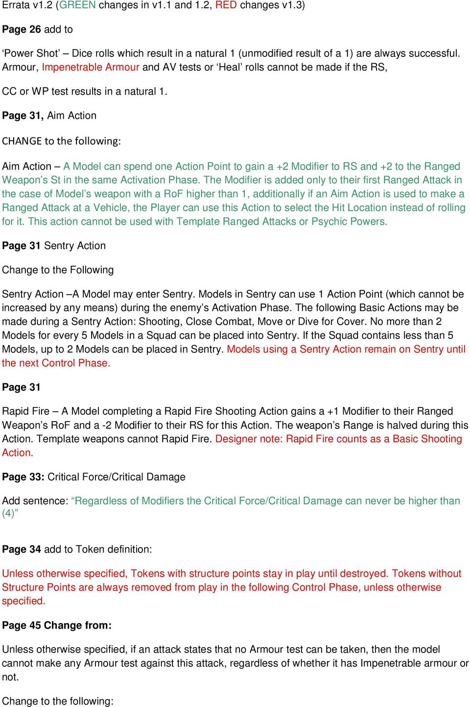 Page 31, Aim Action CHANGE to the following: Aim Action A Model can spend one Action Point to gain a +2 Modifier to RS and +2 to the Ranged Weapon s St in the same Activation Phase.
