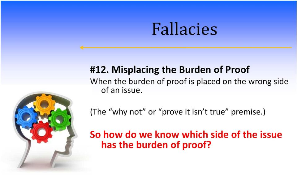 (The why not or prove it isn t true premise.