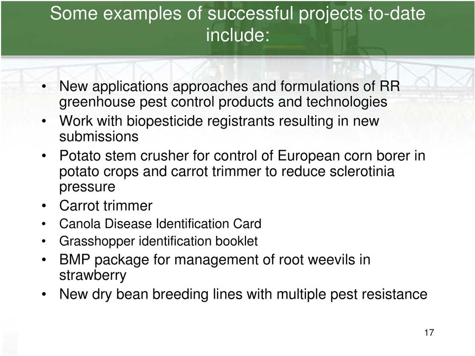 corn borer in potato crops and carrot trimmer to reduce sclerotinia pressure Carrot trimmer Canola Disease Identification Card