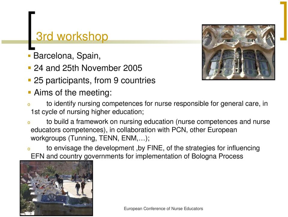 education (nurse competences and nurse educators competences), in collaboration with PCN, other European workgroups (Tunning, TENN,