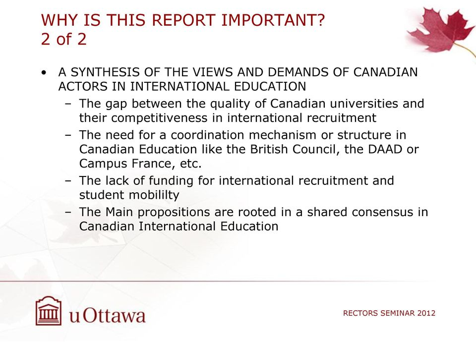 universities and their competitiveness in international recruitment The need for a coordination mechanism or structure in Canadian