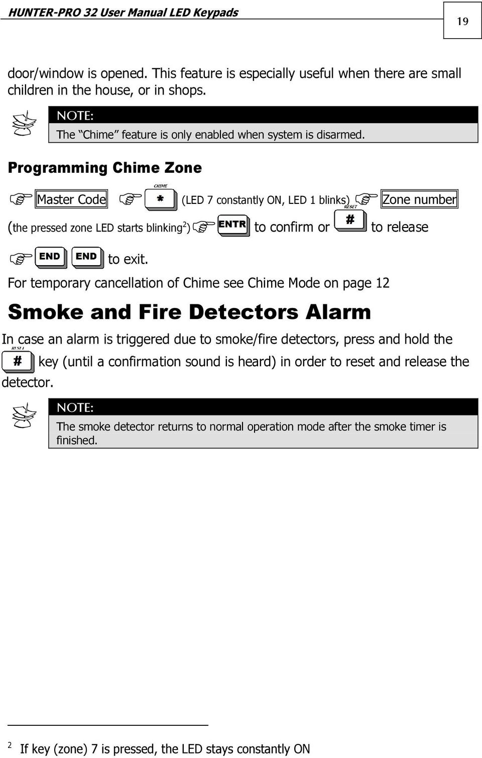 Programming Chime Zone Master Code (LED 7 constantly ON, LED 1 blinks) Zone number (the pressed zone LED starts blinking 2 ) to confirm or to release to exit.