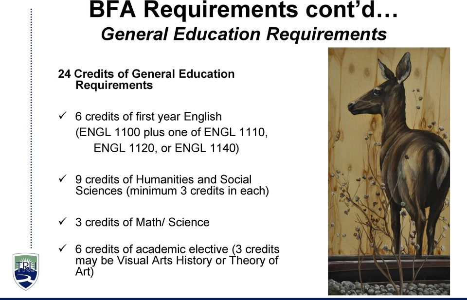 ENGL 1140) 9 credits of Humanities and Social Sciences (minimum 3 credits in each) 3 credits