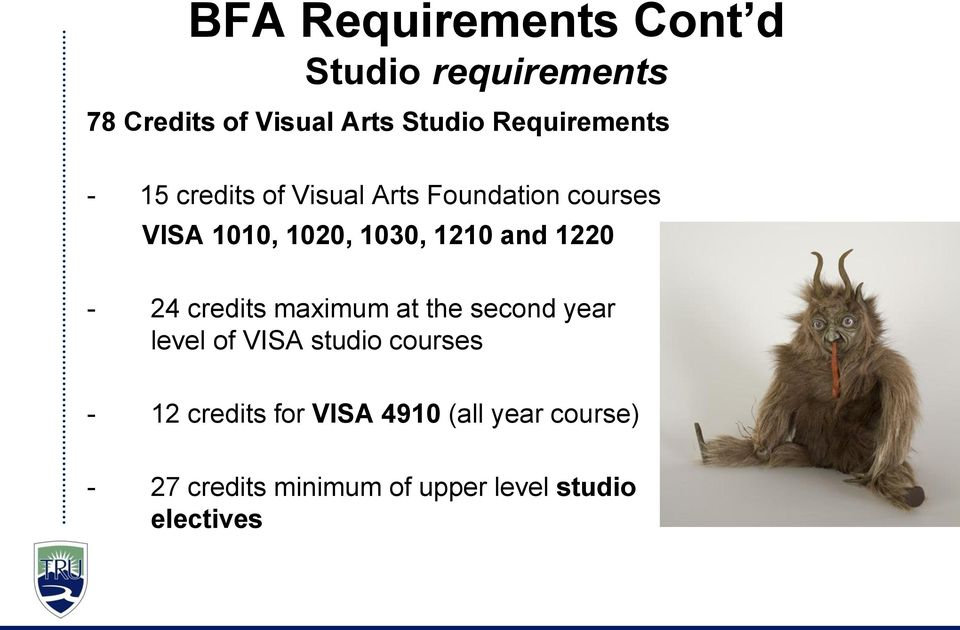 1210 and 1220-24 credits maximum at the second year level of VISA studio courses -