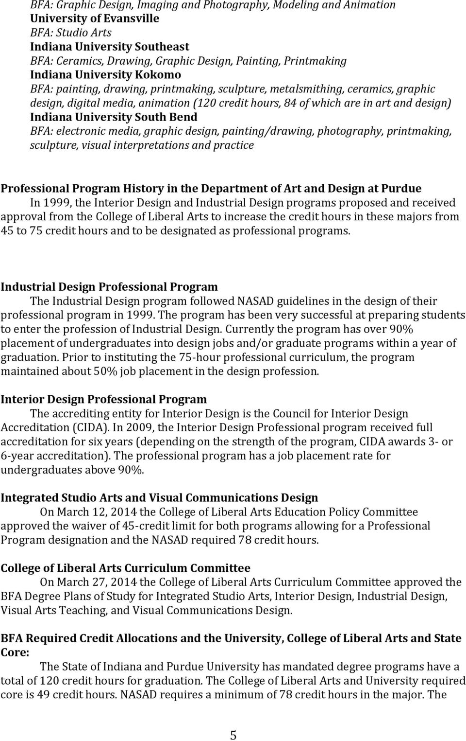 Indiana University South Bend BFA: electronic media, graphic design, painting/drawing, photography, printmaking, sculpture, visual interpretations and practice Professional Program History in the