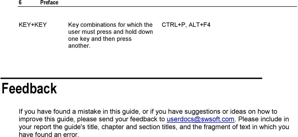 CTRL+P, ALT+F4 Feedback If you have found a mistake in this guide, or if you have suggestions or ideas on
