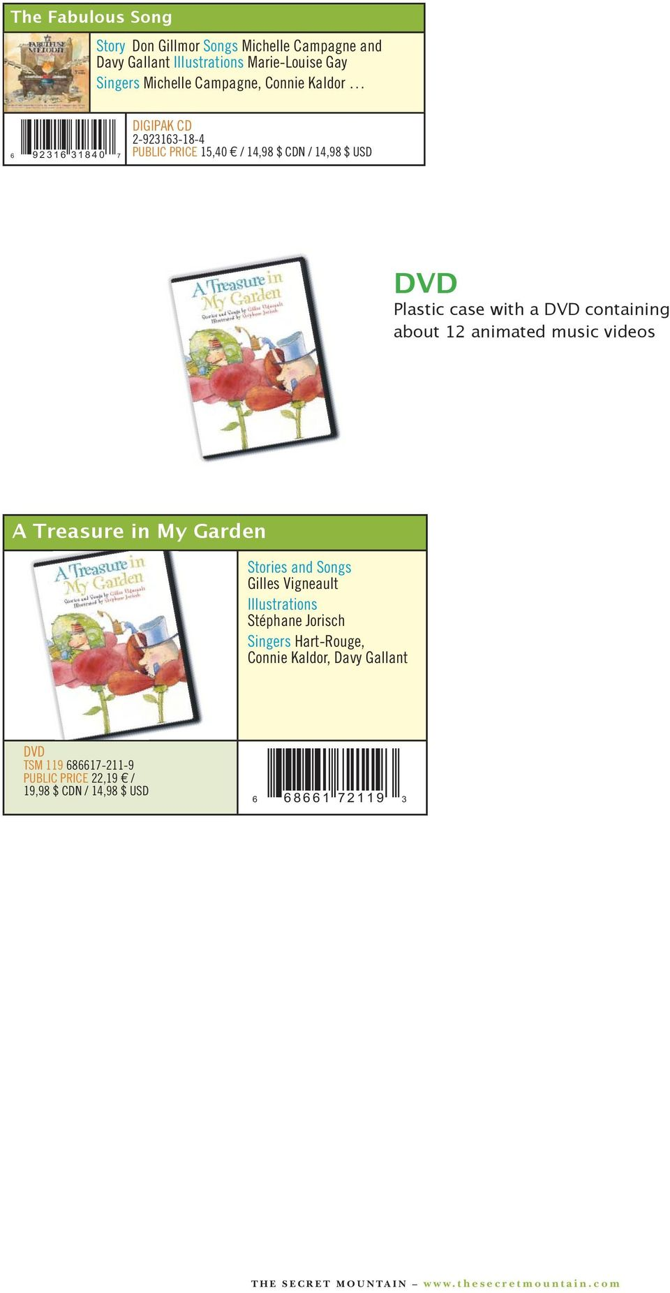 videos A Treasure in My Garden Stories and Hart-Rouge, Connie Kaldor, Davy Gallant TSM 119 686617-211-9