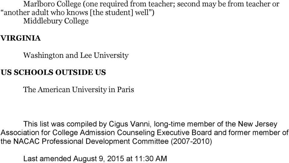 list was compiled by Cigus Vanni, long-time member of the New Jersey Association for College Admission Counseling