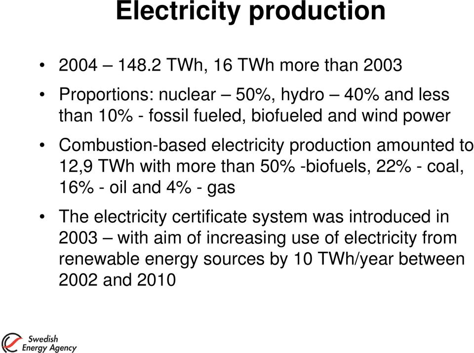 and wind power Combustion-based electricity production amounted to 12,9 TWh with more than 50% -biofuels, 22% -